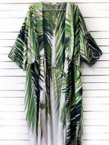 Пляжная туника с принтом пальмовых листьев на завязке длины миди