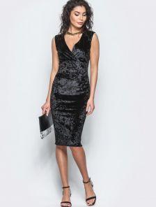 Нарядное черное велюровое платье на вечеринку