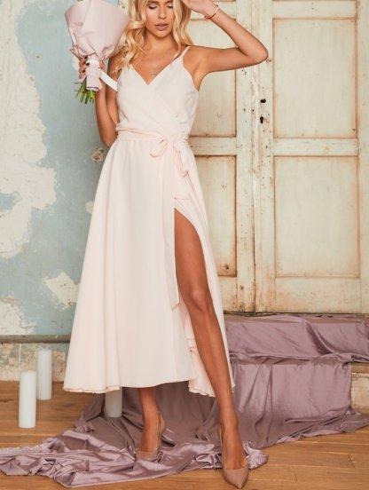 Персиковое вечернее платье миди с открытыми плечами, фото 1