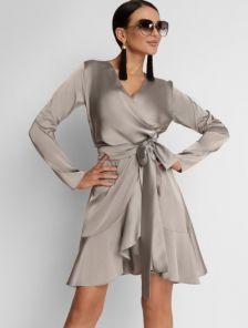 Серое платье на запах с воланом на юбке с нежного шелка Армани