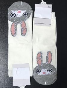 Высокие носки с зайчикамииз натурального хлопка