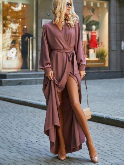Лиловое вечернее платье с запахом на длинный рукав, фото 1