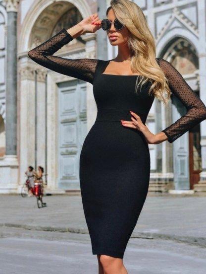 Черное нарядное платье с прозрачными рукавами сеткой, фото 1
