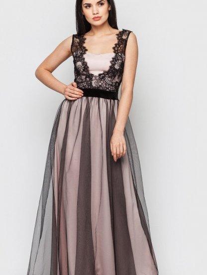 Вечернее черно-розовое длинное платье с фатиновой юбкой с кружевом, фото 1