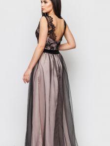 Вечернее молодежное длинное платье с фатиновой юбкой и с кружевом