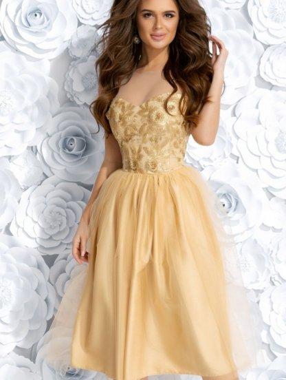 Коктейльное золотое кружевное платье из фатина с двойной юбкой, фото 1
