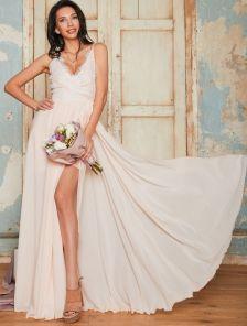 Вечернее персиковое кружевное платье со съемной пышной юбкой