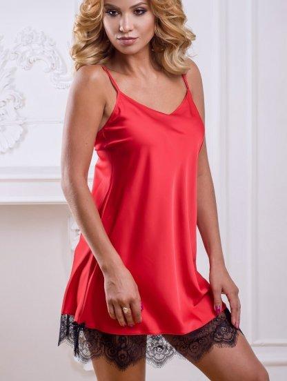 Красная домашняя рубашка с черным кружевом длины-мини на тонких брителях, фото 1