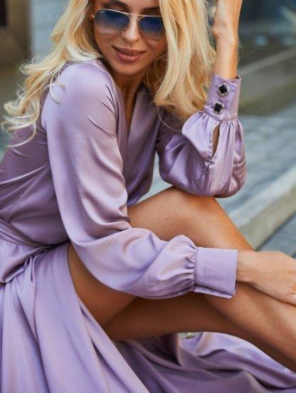 Вечернее лиловое платье с запахом, фото 1