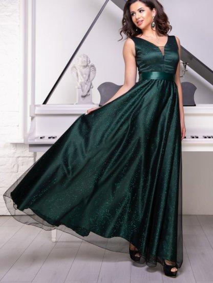 Длинное мерцающее атласное зеленое платье с V-образным декольте и расклешонной юбкой, фото 1