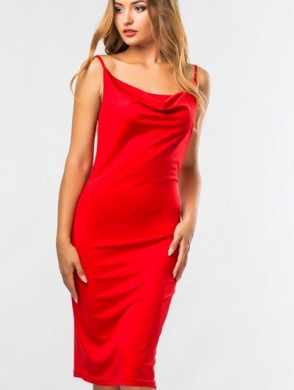 Красное силуэтное базовое платье в бельевом стиле и на тонких бретелях, фото 1