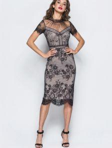 Вечернее нарядное кружевное платье из гипюра