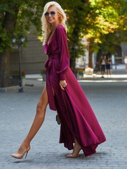 Вечернее шелковистое платье марсала, фото 1