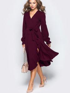 Платье-миди на запах с мягким воланом по низу на длинный рукав