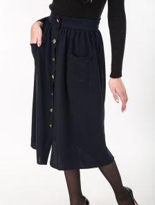 Базовая юбка длины-миди с пуговицами и завязкой на талии