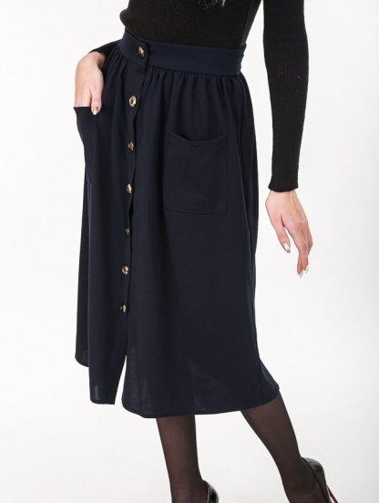 Базовая юбка длины-миди с пуговицами и завязкой на талии, фото 1