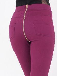 Бордовые джинсы с завышенной талией и молнией сзади