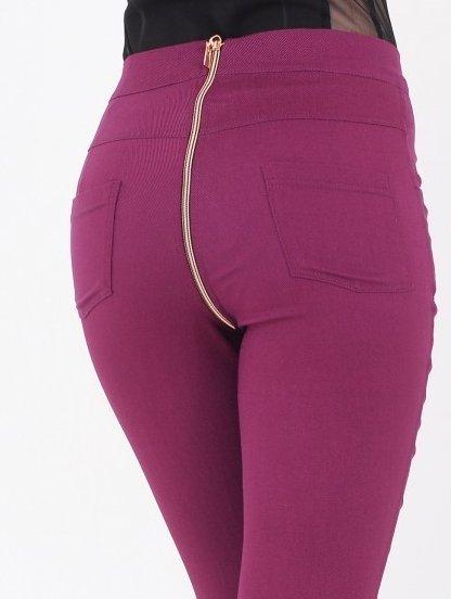 Бордовые джинсы с завышенной талией и молнией сзади, фото 1