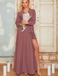 Вечернее шифоновое платье на запах в пол лилового цвета на длинный рукав