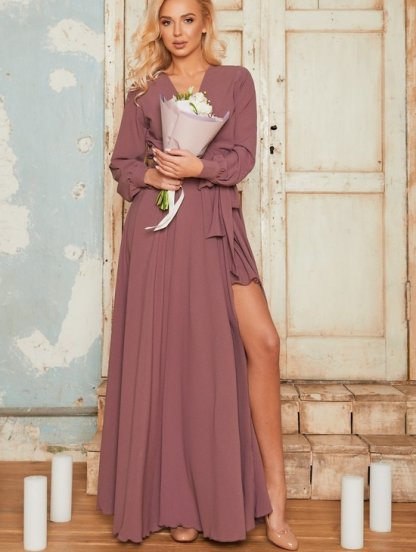 Вечернее шифоновое платье на запах в пол лилового цвета на длинный рукав, фото 1