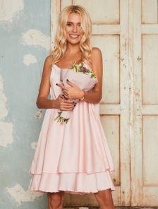 Короткое розовое нарядное свободное платье в бельевом стиле