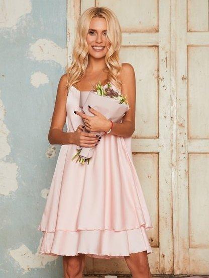 Короткое розовое нарядное свободное платье в бельевом стиле, фото 1