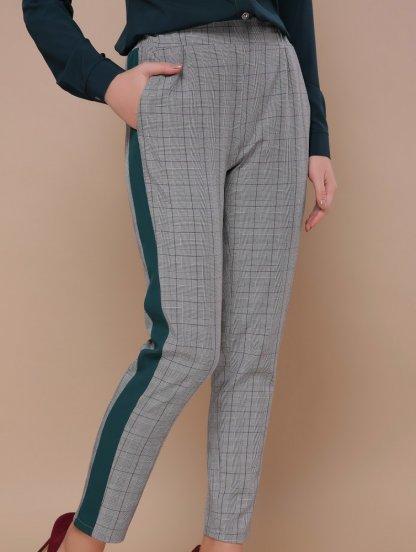 Серые брюки в клетку с полосками и карманамы, фото 1