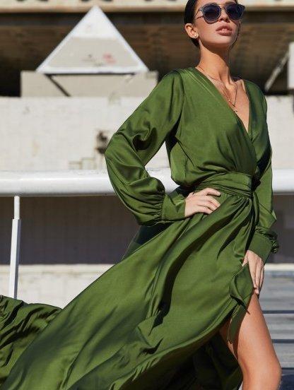 Вечернее стильное шелковое нарядное платье с запахом, фото 1