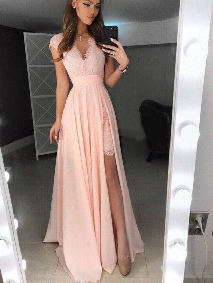 Вечернее персиковое кружевное платье со сьемной пышной юбкой, фото 1