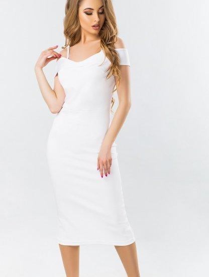 Белое облегающее платье с открытыми плечами, фото 1