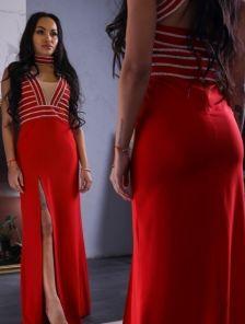 Вечернее красное облегающее платье с камнями