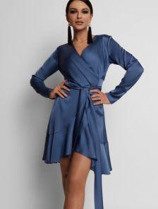Синее платье на запах с воланом на юбке с нежного шелка Армани