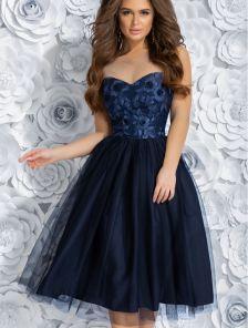 Коктейльное синее миди платье с фатиновой двойной юбкой