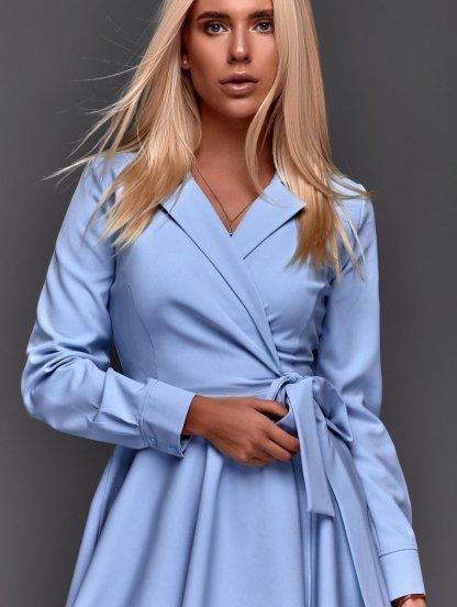 Голубое короткое платье в пудровом оттенке с пышной юбкой на запах, фото 1