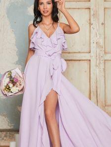 Вечернее длинное платье с воланами и с запахом