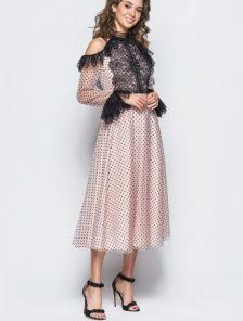 Легкое кружевное коктейльное платье в горох с открытыми плечами