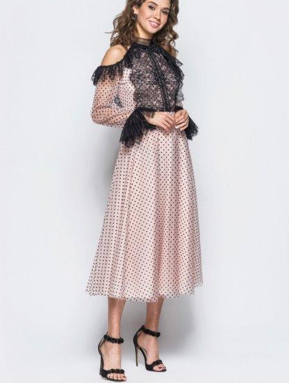 Легкое кружевное коктейльное платье в горох с открытыми плечами, фото 1