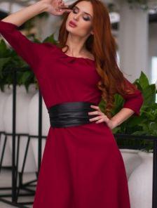 Вечернее бордовое платье на длинный рукав