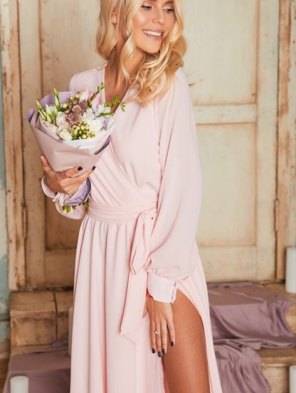 Вечернее длинное шифоновое платье с запахом, фото 1