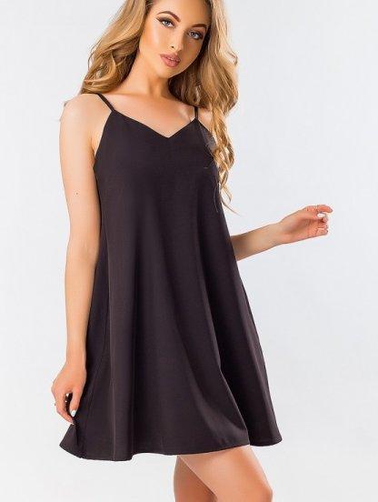 Черное расклешенное свободное платье в бельевом стиле на бретелях, фото 1