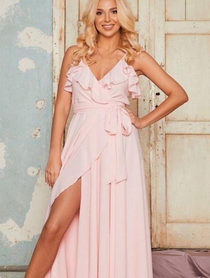 Кремовое вечернее длинное платье с воланами и с запахом, фото 1