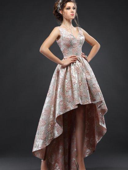 Жаккардовое короткое красивое платье с ассимертричной длинной юбкой, фото 1
