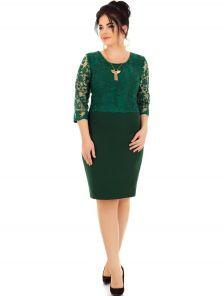 Зеленое нарядное платье для полных женщин с формами