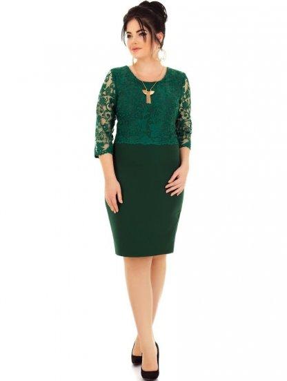 Зеленое нарядное платье для полных женщин с формами, фото 1