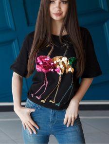 Черная блуза с рукавом 3/4 с разноцветными пайетками