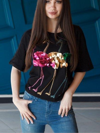 Черная блуза с рукавом 3/4 с разноцветными пайетками, фото 1
