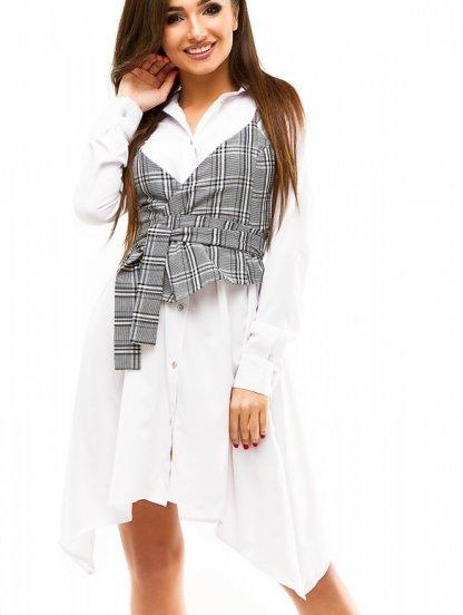 Летнее короткое белое платье рубашка с асимметрией на длинный рукав, фото 1