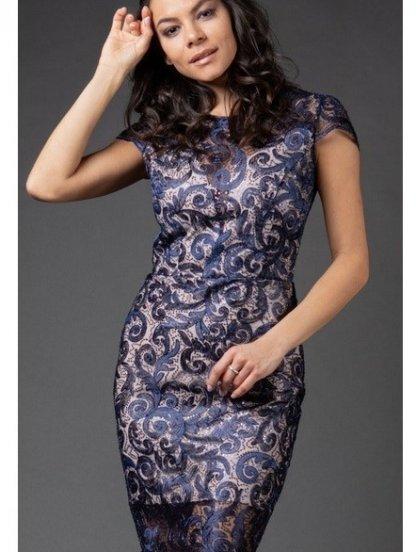 Кружевное синее вечернее платье на бежевой подкладке с коротким рукавчиком, фото 1