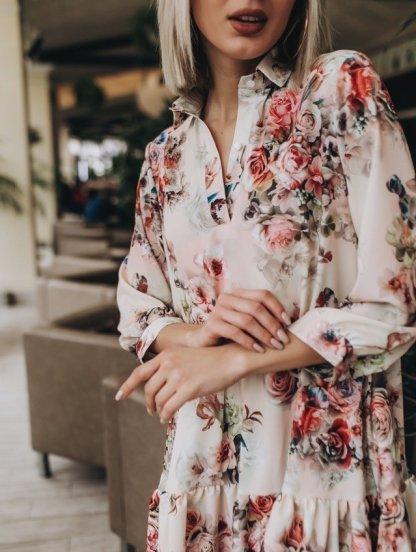 Платье трапеция свободного кроя с цветочным принтом и рукавом 3\4, фото 1