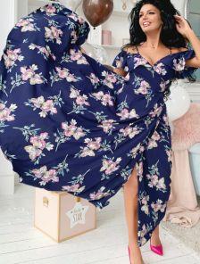 Вечернее нарядное платье в пол с цветами